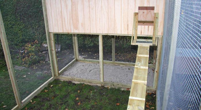 Bygning af hønsehus i have